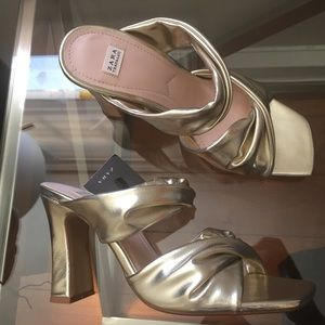 ZARA GOLD HIGH HEEL MULES SANDAL BRAND NEW
